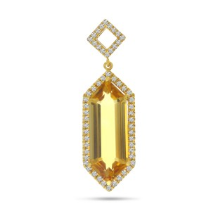 14K Yellow Gold Hexagon Citrine and Diamond Semi Precious Pendant