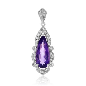 14K White Gold Long Pear Amethyst and Diamond Semi Precious Pendant