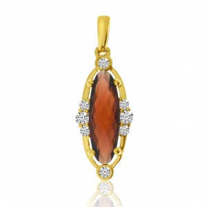 14K Yellow Gold Long Oval Garnet and Diamond Semi Precious Pendant