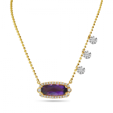 14K Yellow Gold Dashing Diamonds Oval Amethyst Semi Precious Necklace