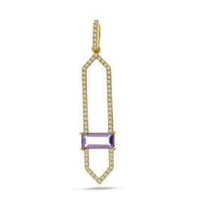 14K Yellow Gold Emerald Cut Amethyst North South Diamond Fashion Pendant