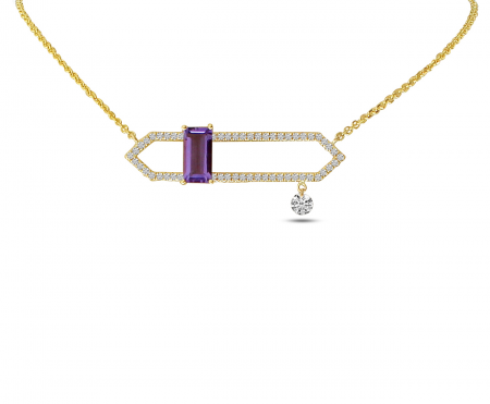14K Yellow Gold Dashing Diamonds Open Amethyst Semi Precious Necklace