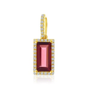 14K Yellow Gold Emerald cut Garnet and Diamond Small Semi Precious Pendant