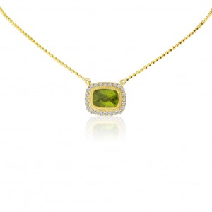 14K Yellow Gold Cushion Peridot with Diamonds Semi Precious Necklace on 18 inch Beach Chain