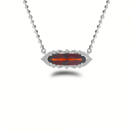 14K White Gold East 2 West Oval Garnet and Diamond Semi Precious Necklace