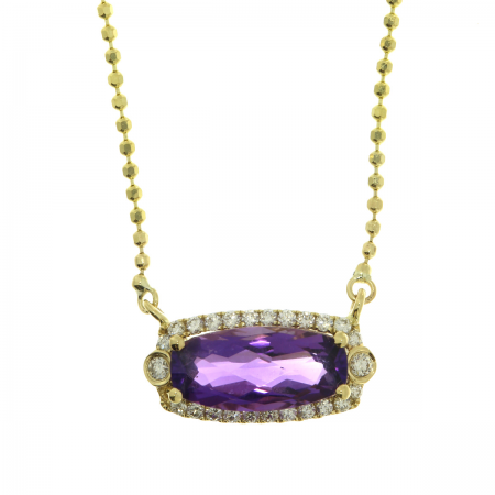14K Yellow Gold Oval Amethyst and Diamond Semi Precious Necklace