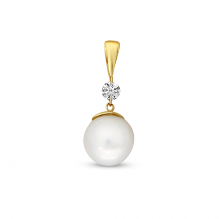 14K Yellow Gold Dashing Diamond Pearl Pendant