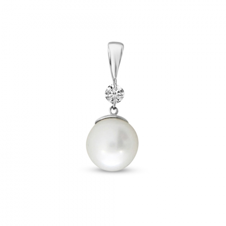 14K White Gold Dashing Diamond Pearl Pendant