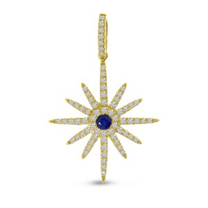 14K Yellow Gold Precious Sapphire and Diamond Starburst Pendant