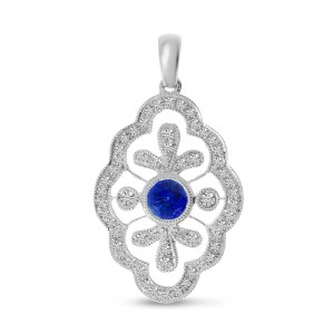14K White Gold Round Sapphire and Diamond Precious Pendant