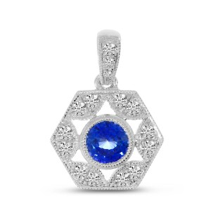 14K White Gold genuine Sapphire and Diamond Precious Hexagon Pendant