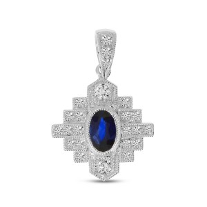 14K White Gold Precious Oval Sapphire and Diamond Art Deco Pendant