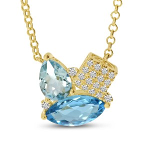 14K Yellow Gold Blue Topaz Duo Pear and Marquise with Diamonds Semi Precious 18 inch Necklace