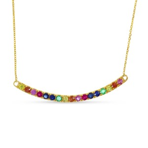 14K Yellow Gold Genuine Rainbow Sapphire Bar 18 inch Necklace