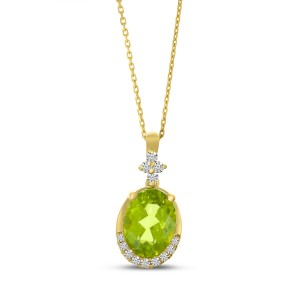 14K Yellow Gold Oval Peridot and Diamond Semi Precious Pendant