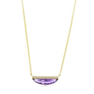 14K Yellow Gold Half Moon Amethyst and Diamond Semi Precious Bar 18 inch Necklace