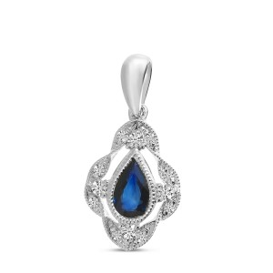 14K White Gold Pear Sapphire and Diamond Millgrain Precious Pendant