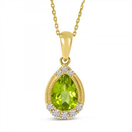 14K Yellow Gold Pear Peridot and Diamond Pendant