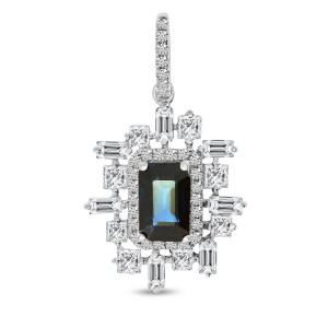 14K White Gold Octagon Sapphire Surrounded by Baguette, Princess and Round Diamonds Precious Pendant