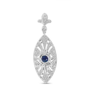 14K White Gold Precious Sapphire and Diamond Marquis Shape Pendant