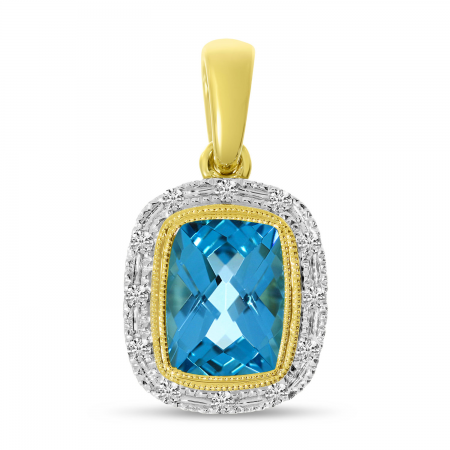 14K Yellow Gold Cushion Blue Topaz and Diamond Halo Semi Precious Pendant