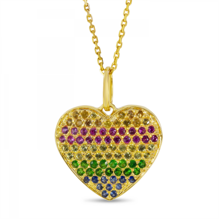 14K Yellow Gold Rainbow Sapphire Heart Pendant