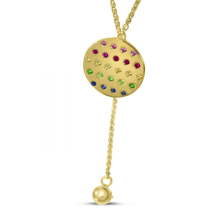 14K Yellow Gold Adjustable Rainbow Sapphire Disc Necklace
