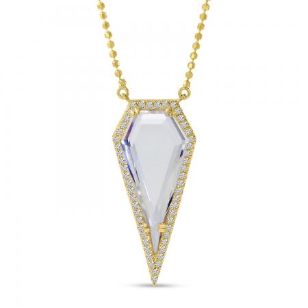 14K Yellow Gold Diamond Shape White Topaz and diamond Necklace