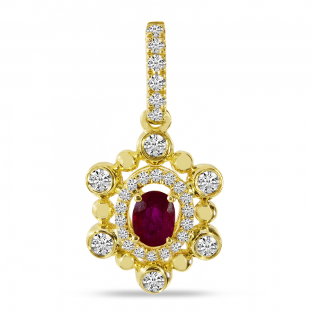 14K Yellow Gold Ruby and Diamond Ball Pendant