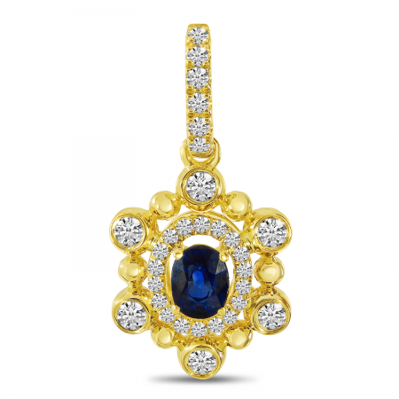 14K Yellow Gold Sapphire and Diamond Ball Pendant