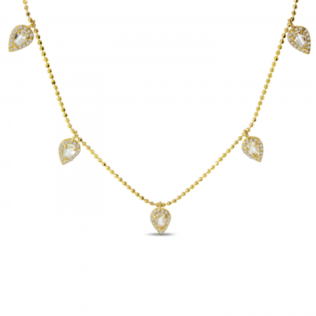 14K Yellow Gold Five Station Dangle Pear White Topaz and Diamond Necklace