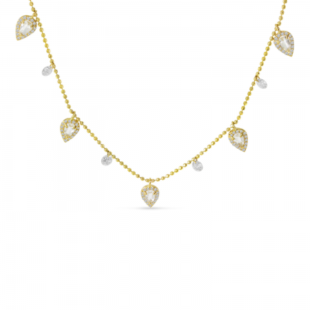 14K Yellow Gold Dashing Diamond Five Station Dangle Pear White Topaz Necklace
