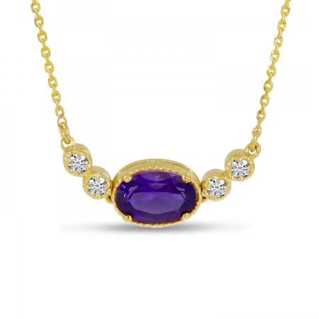 14K Yellow Gold Oval Amethyst Birthstone Millgrain Necklace