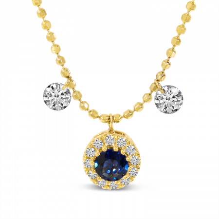 14K Yellow Gold Dashing Diamonds Sapphire Halo Necklace