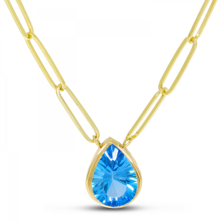 14K Yellow Gold Blue Topaz Pear Paperclip Chain Necklace