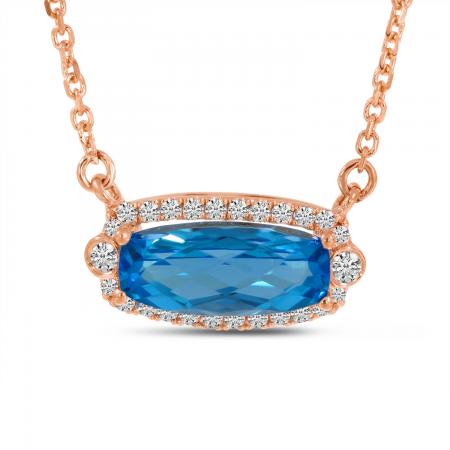 14K Rose Gold Diamond Halo Oval Blue Topaz Necklace