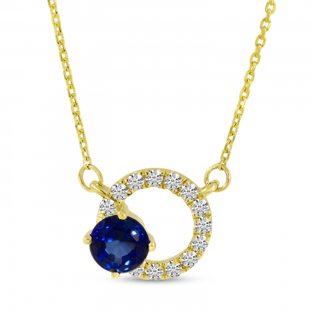 14K Yellow Gold Sapphire Circle Necklace