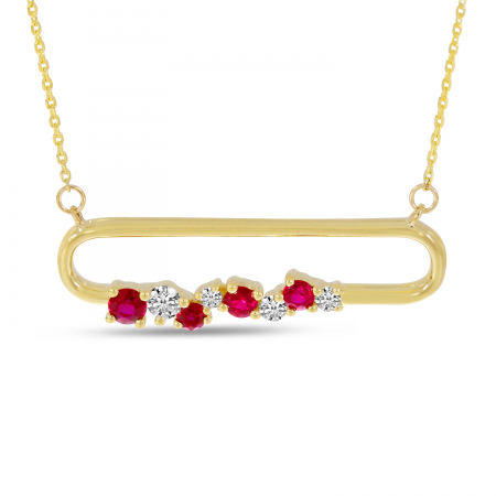 14K Yellow Gold Ruby Precious Paperclip Necklace