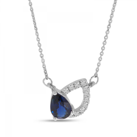 14K White Gold Pear Sapphire & Diamond Shadow Necklace