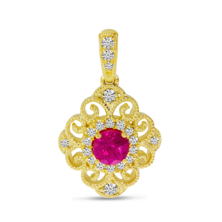 14K Yellow Gold Diamond Ruby Precious Filigree Pendant