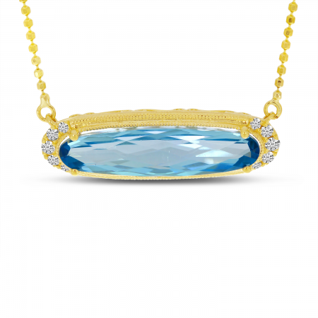 14K Yellow Gold Elongated Oval Blue Topaz East 2 West Necklace