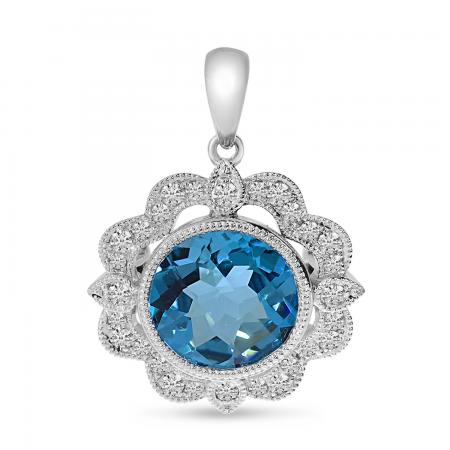 14K White Gold Blue Topaz & Diamond Millgrain Pendant