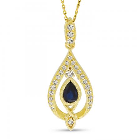 14K Yellow Gold Sapphire Pear Teardrop Pendant