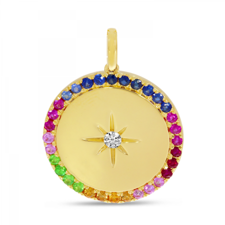 14K Yellow Gold Rainbow Sapphire Halo Disc Pendant