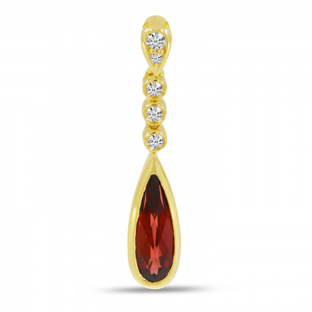 14K Yellow Gold Garnet Teardrop Diamond Pendant