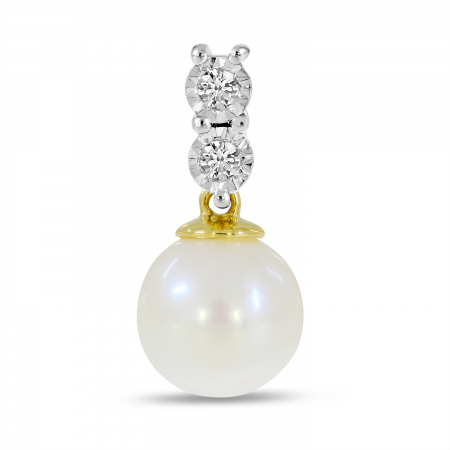 14K Yellow Gold Two Diamond & Pearl Pendant