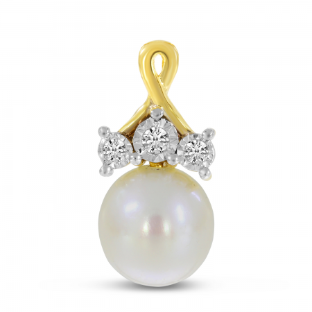 14K Yellow Gold Crossover Diamond & Pearl Pendant