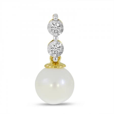 14K Yellow Gold Two Diamond & Pearl Drop Pendant