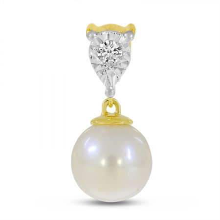 14K Yellow Gold Illusion Diamond & Pearl Drop Pendant