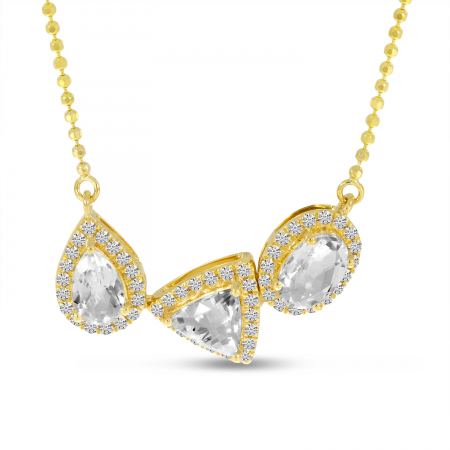 14K Yellow Gold White Topaz Fancy Shapes Necklace